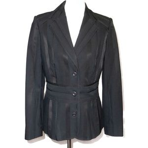 ETCETERA Black Shadow Stripe Textured Blazer 10